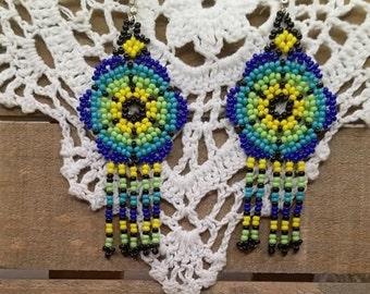 Native Style Bead Earrings - Boho Earring - Fun Earrings - Seed Bead Earring - Tribal Fashion Earrings - Handmade Earring - Summer Earrings