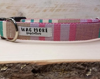 Pink & Teal Dog Collar - Serape Dog Collar - Handwoven Collar - Cool Dog Collar - Geometric Dog Collar - Striped Collar - Aztec Dog Collar