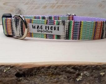 Teal Multicolor Dog Collar - Serape Dog Collar - Handwoven Collar - Aztec Cool Dog Collar - Geometric Dog Collar - Striped Collar - Western