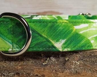 Palm Leaves Dog Collar - Green Dog Collar - Summer Dog Collar - Pretty Collar - Fun Print Dog Collar - Plant lover Gift