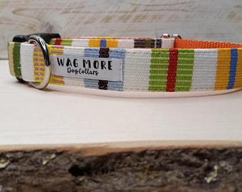 Orange Dog Collar - Serape Dog Collar - Handwoven Collar - Cool Dog Collar - Geometric Dog Collar - Striped Collar - Aztec Dog Collar