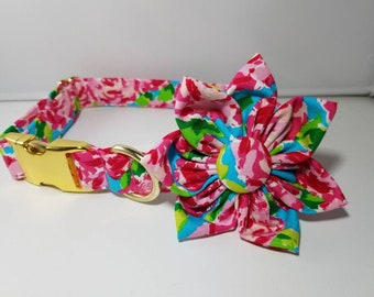 "Pink Flower Dog Collar , Summer Collar , Lilly Dog Collar , Hot Pink Dog Collar , Pink Rosettes Dog Collar  Trendy, Girly and Fun""The Lilly"""