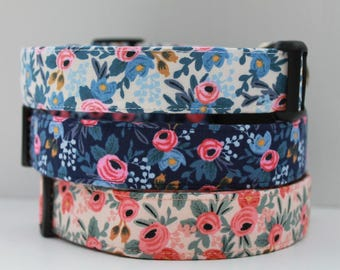 "Floral Dog Collar, Spring Vintage Inspired Fabric, Blue Flower, Pink Flower, Beautiful Rossettes. ""The Rossy"""