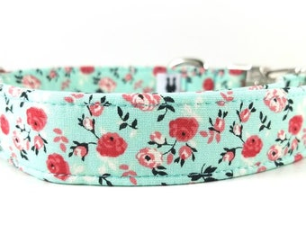 "Mint Floral Dog Collar - Pretty Dog Collar - Red Flower Dog Collar - Girl Dog Collar - Dog Collar for Girls ""The Myrtle"""