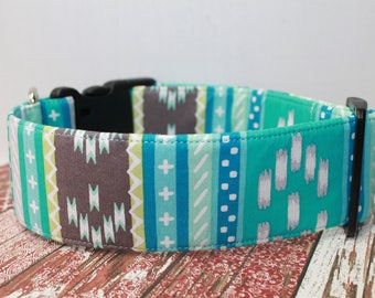"Mint Green Aztec / Geometric Dog Collar /  Tribal Inspired /  Southwest / Stripped / Navajo ""The  Peacock"""