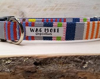 Blue Dog Collar - Serape Dog Collar - Handwoven Collar - Cool Dog Collar - Geometric Dog Collar - Striped Collar - Aztec Dog Collar