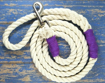 Purple Rope Dog Leash / Rope Dog Lead - Strong Dog Leash - Natural Rope Dog Leash /