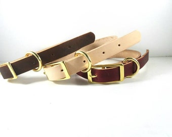 Leather Dog Collar /  Natural Leather Dog Collar / Burgundy Dog Collar / Brown Dog Collar