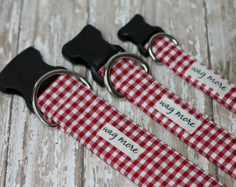 "Classic Dog Collar, Bright Red Gingham, Dog Collar for Summer. Plaid Dog Collar, Unisex Dog Collar. "" The Emma"""