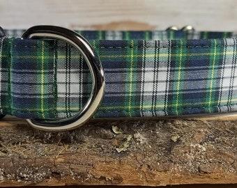 Green Plaid Dog Collar - Blue Plaid Dog Collar - Plaid Dog Collar - Boy Dog Collar