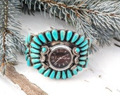 Stunning Vintage Turquoise Zuni Petite Point Cluster Watch Cuff Bracelet Signed W New Working Watch
