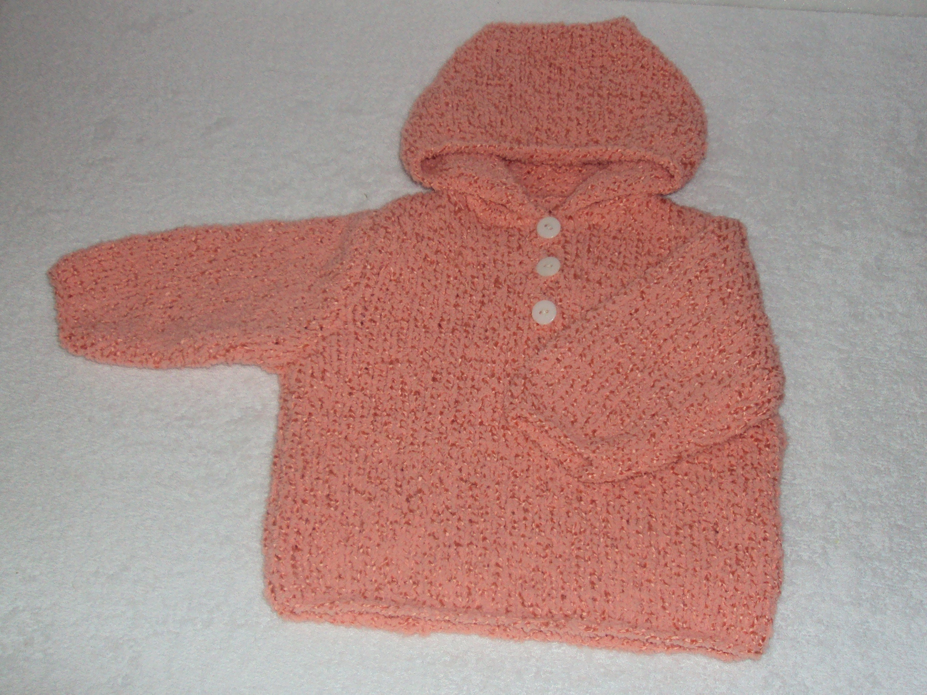 324b52138 Hooded baby sweater wool baby size 6 months salmon color