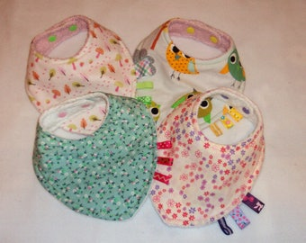Bandana bib, set of 4, handmade, reversible, nature themed, assorted colors, baby girl