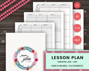 LESSON PLANNER - Printable - Teacher Planner - Undated Lesson Planner - Daily Plan - Home School Planner - School Planner - High School Plan