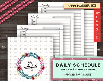 UNDATED DAILY SCHEDULE, Daily Schedule With Day, Classic Happy Planner Refill, Sunday To Saturday Daily Agenda, Mambi Daily Plan With Time