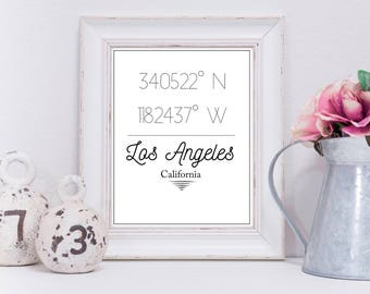 Coordinates Printable | Los Angeles | Wall Decor | Travel | City Coordinates | Simple | Instant Download | Digital Print | California | LA