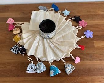 Washable tea bag - reusable - Zero waste - batch of 2 bags