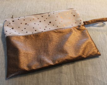 Clutch bag faux leather and cotton star