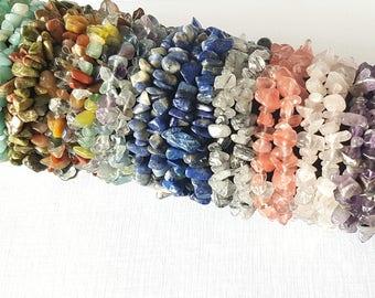 Gemstone Stretch Bracelets, Gemstone Stacking Bracelets, Gemstone Layering Bracelets, Stretchy Bracelets, Quartz, Amethyst, Lapis Lazuli