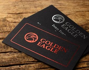 Foil business cards etsy more colors luxury business cards metallic foil print on black colourmoves