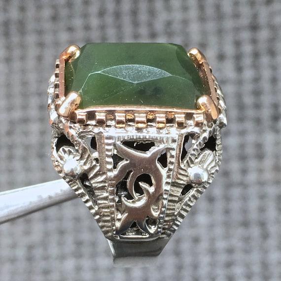 Natural Genuine Green Jade Handmade 925K Sterling Silver Ring
