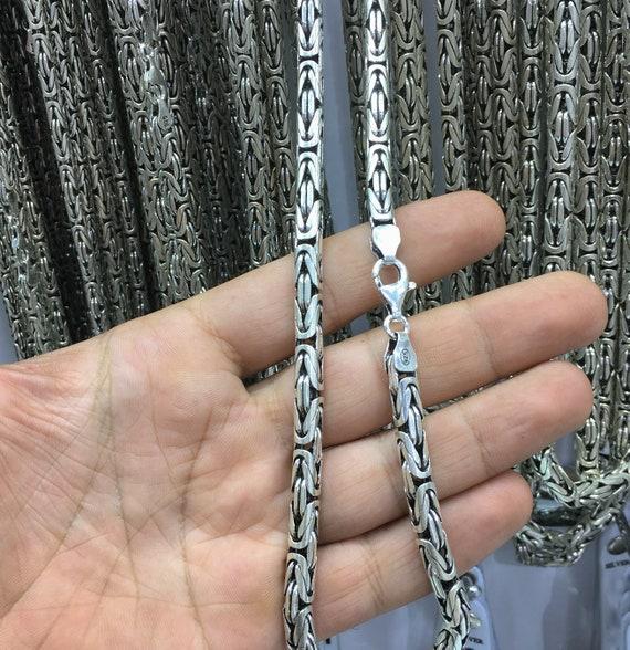 Silverly Collar de Cadena Bizantina 4.3 mm Balin/és Hombre Mujer Plata de Ley Esterlina .925 Oxidada