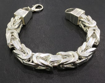 UNIQUE Handmade 925 Sterling Silver Cubic Bali Byzantine King Chain Bracelet solid 270 gr. - 14 mm