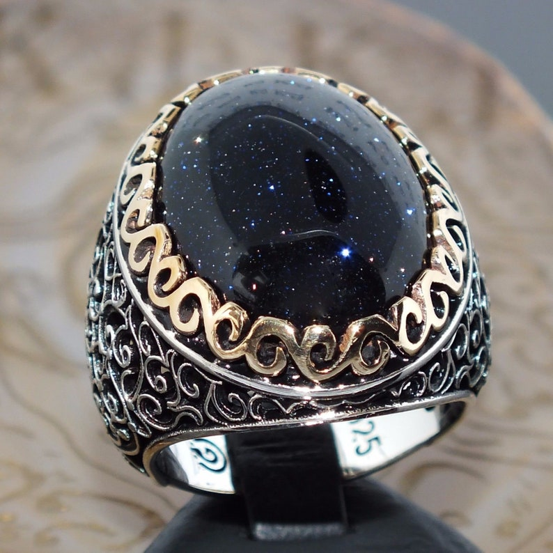 925 Sterling Silver Mens Ring with blue Aventurine unique elegant Jewelry