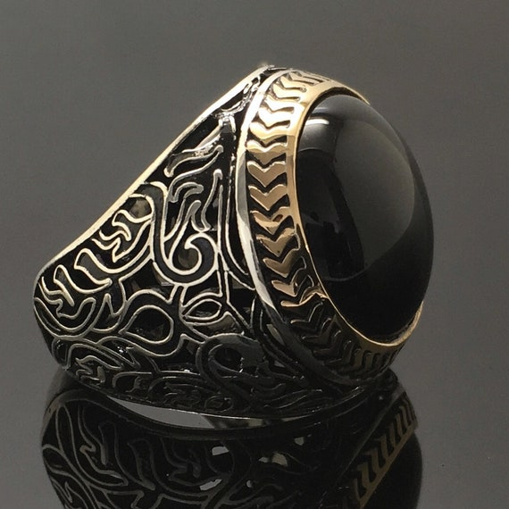 925 Sterling Silver Mens Ring with Black Onyx unique elegant jewelry