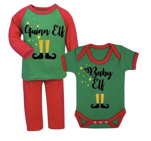 b3cc72851 Personalised elf pyjamas Personalised Christmas Pyjamas