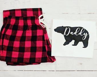 DADDY BEAR pjs, daddy bear tshirt, Fathers day gift,