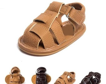 Unisex baby sandals, baby gladiator sandals, leather look baby sandals