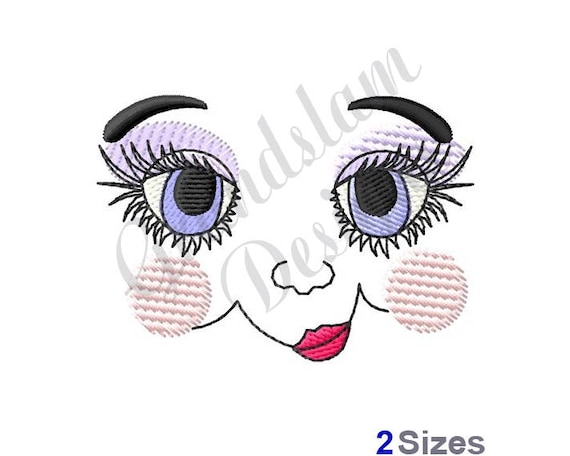 Girl Doll Face Machine Embroidery Design Etsy