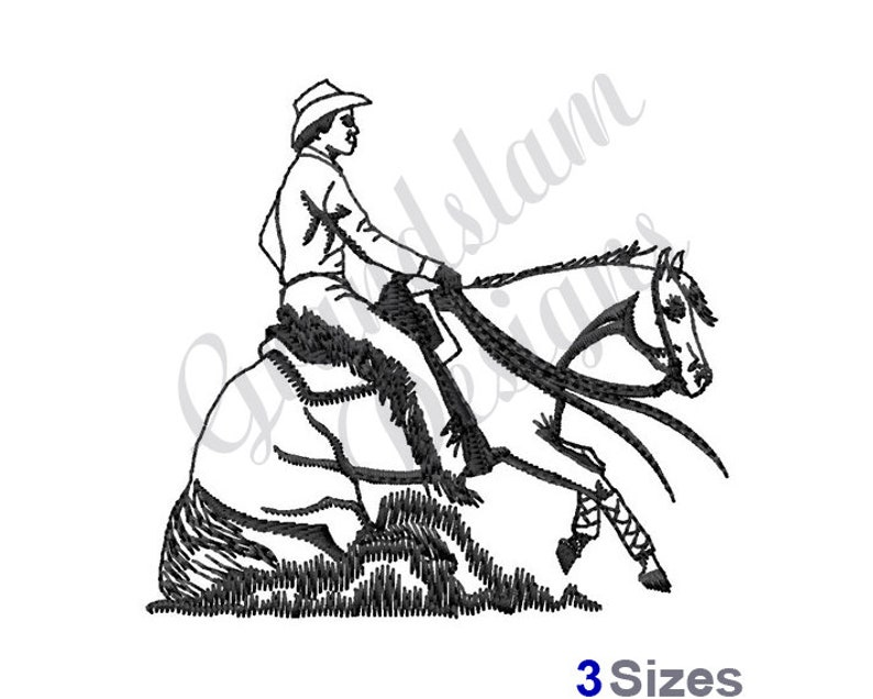 Cowboy Horse Reining Machine Embroidery Design