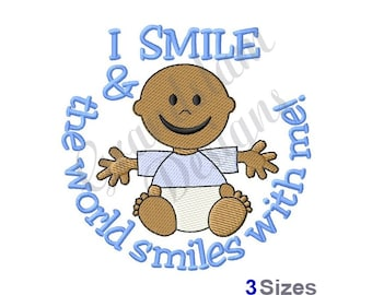 Smiling Baby Boy - Machine Embroidery Design