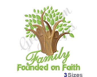 Family Tree Founded On Faith - Machine Embroidery Design