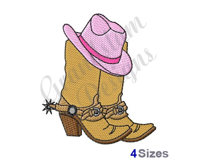 1a769a6bfd4 Cowboy Boots   Hat Machine Embroidery Design