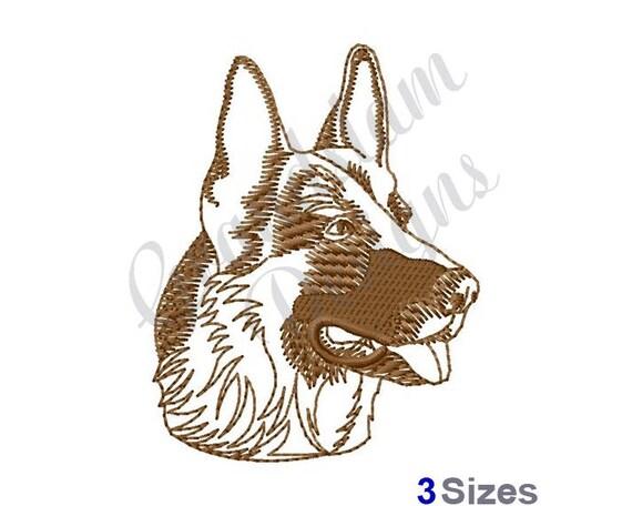 Deutscher Schäferhund Kopf Umriss Maschine Stickerei Design   Etsy