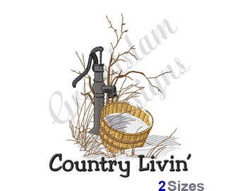 Country Living Water Pump - Machine Embroidery Design