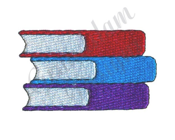 Stack Of Books Machine Embroidery Design Etsy