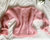 pink handmade knitted sweater, universal size, handmade, sweater, off shoulder, women s sweater, pink color, knitted, cute, cozy, warm, pink