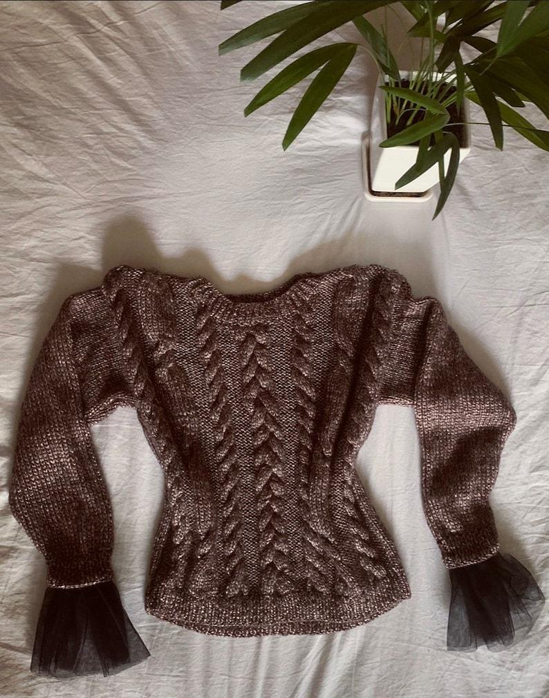 sweater knitted cardigan cute bronze women/'s sweater brown warm Bronze handmade knitted sweater handmade sweater with mesh, cozy