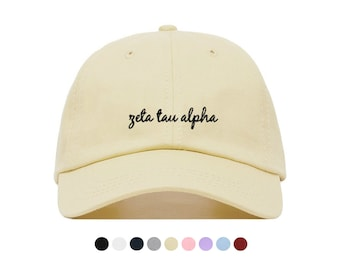 96a3e450f5793 Zeta Tau Alpha Script Baseball Hat - Embroidered Baseball Cap    Sorority  Greek Big Little Sister Gift