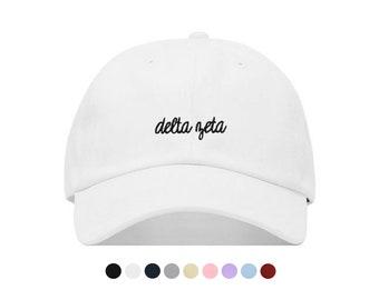 f688f088 Delta Zeta Cursive Baseball Hat - Embroidered Baseball Cap // Sorority  Greek Big Little Sister Gift
