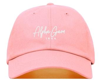320122a8a6edb Alpha Gamma Delta Signature Baseball Hat - Embroidered Baseball Cap     Sorority Greek Big Little Sister Gift