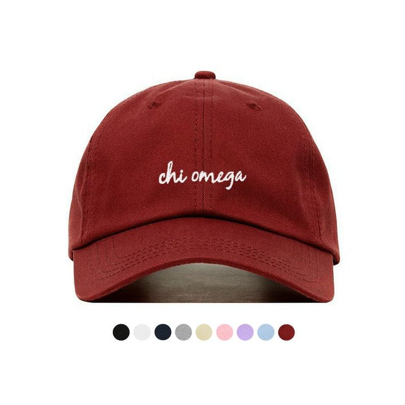 5770f7695988e Chi Omega Script Baseball Hat Embroidered Baseball Cap // | Etsy