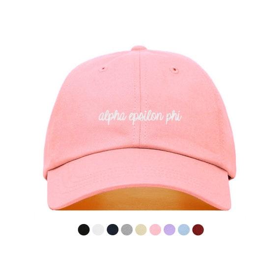 b13618f7026 Alpha Epsilon Phi Cursive Baseball Hat Embroidered Baseball