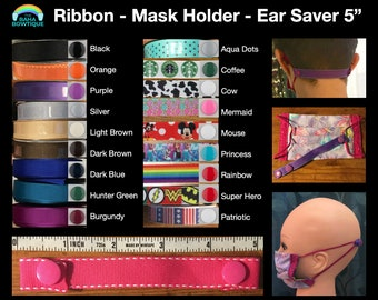 Ribbon Mask Extender with Snaps - Multiple Color Options