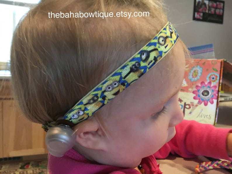 Hot Pink Unicorn on light Pink Softband Headband for Baha or Ponto hearing aid Connector is sold separately