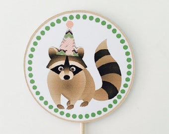 Personalised Raccoon Cupcake Topper/ Woodland Creatures Cupcake Topper